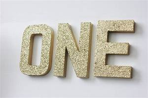 One glitter letters free standing sign letter paper mache gold for Silver letters freestanding
