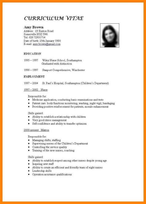 Format Of Writing A Curriculum Vitae by Standard Format For Cv Fieldstationco Resume Standard