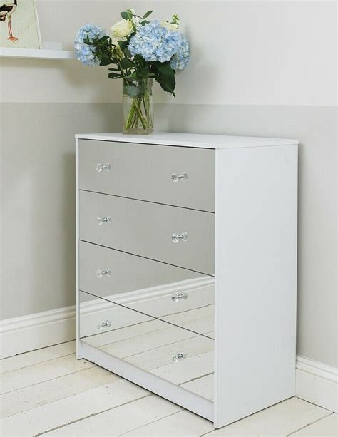 White Cabinet With Drawers by Four Drawer White Mirrored Chest Of Drawers Cabinet