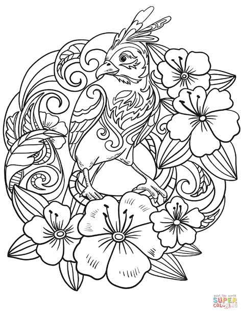 parrot  flowers coloring page  printable coloring pages
