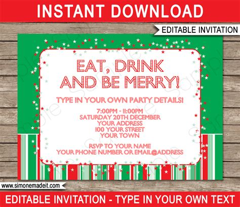 christmas party invitations template holiday party