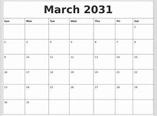 March 2031 Monthly Printable Calendar