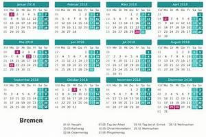 Kalender 2018 Bremen Ausdrucken, Ferien, Feiertage, Excel