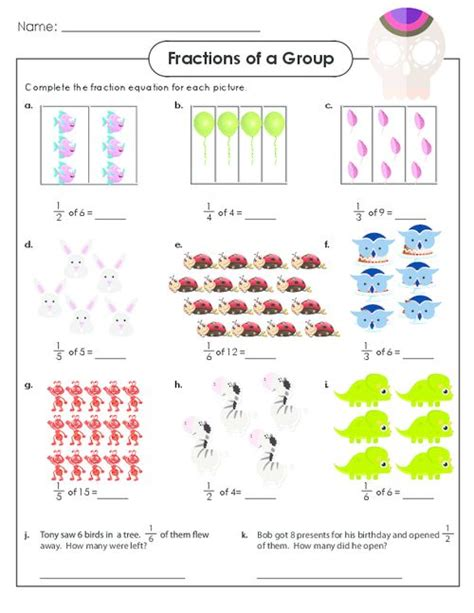 fraction of a set worksheet fraction worksheets for