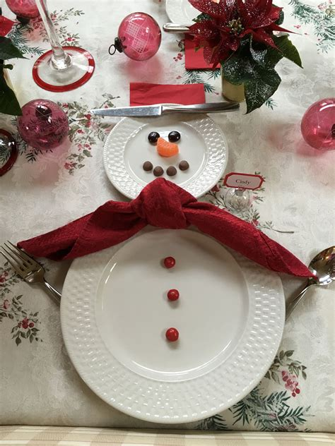 snowman table setting my projects posted - Snowman Table Decorations