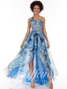 blue bridesmaid dress designs 16042 camo a line asymmetrical neckline one shoulder high low hem illusion