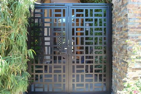 contemporary metal dual entry gate modern pedestrian walk