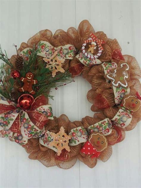 gingerbread man deco mesh wreath  wreaths
