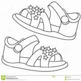Sandals Coloring Dreamstime Illustration Useful sketch template