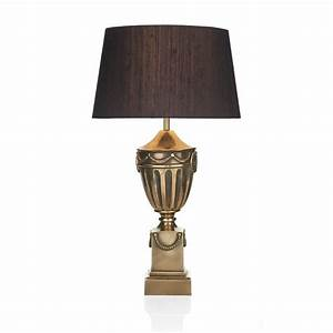 Traditional Urn Shaped Table Lamp with Dramatic Black Silk ...