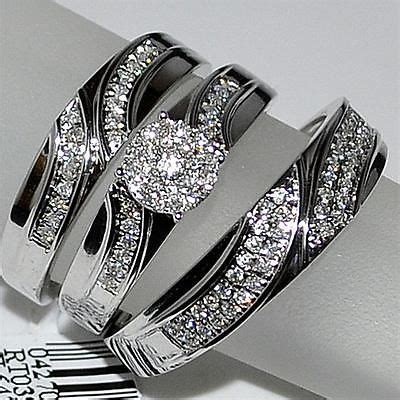 trio wedding three mens band and womens bridal rings 10k white gold engagement rings