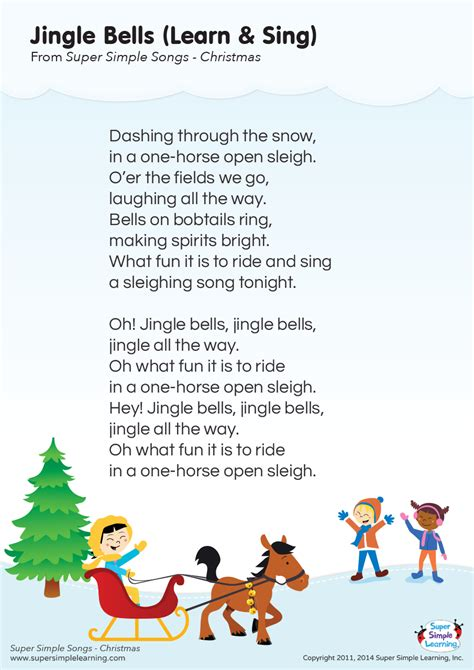 jingle bells learn sing lyrics poster super simple