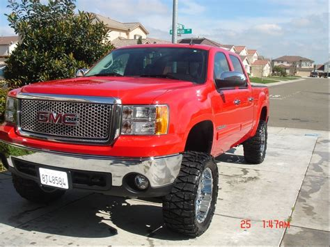 lifted gmc red red lifted gmc sierra truck with nice tires gmc trucks