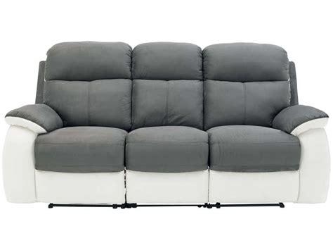 conforama canapé relax canapé fixe 3 places 2 relaxation manuel en tissu