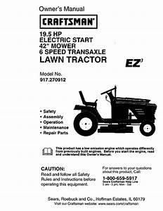 Craftsman 917270912 User Manual 19 5hp 42 Lawn Tractor