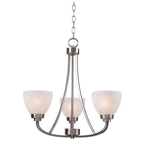 home lighting chandeliers hton bay hastings 3 light brushed steel chandelier