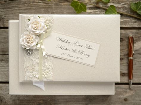 Wedding Guest Book by Luxury Personalised Wedding Guest Book Vintage Style