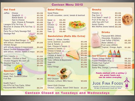 Canteen Menu Template by Menu Design Design Design 1084758 Submitted To School