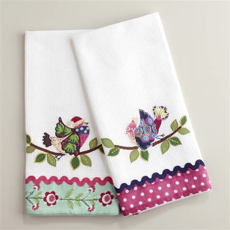 Decorative Kitchen Towel Sets by Waffle Weave Appliqu 233 Bird Kitchen Towels Set Of 2