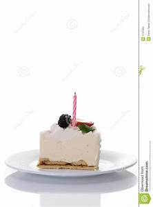 Piece Of Cake With Candle Stock Photos - Image: 1747443