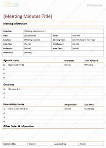 Meeting minutes template detailed format dotxes for Standard minutes of meeting template
