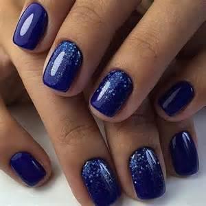 Blue glitter nails navy bright nail art gel