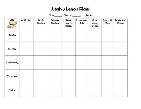 Weekly Lesson Plan Template Printable Lesson Plan Template Calendar Template Letter