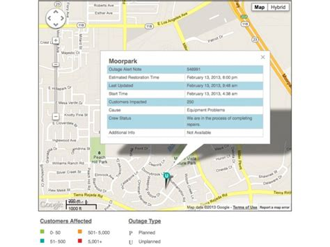 power outage affects  moorpark customers moorpark ca