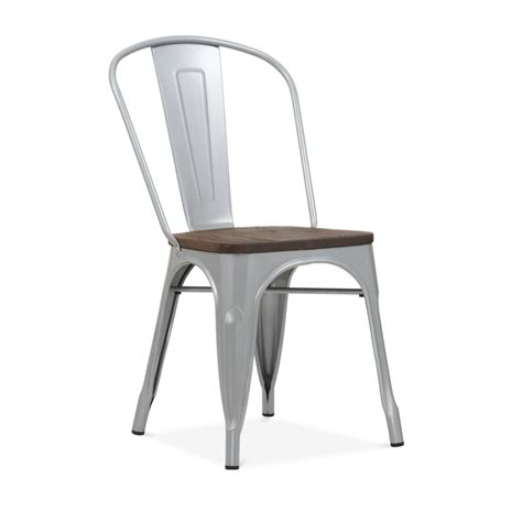 chaise metal tolix powder coated silver side chair with elm wood seat cult furniture
