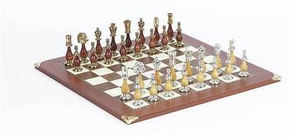 Board Gold Chessmen Champion Chess Brass Above