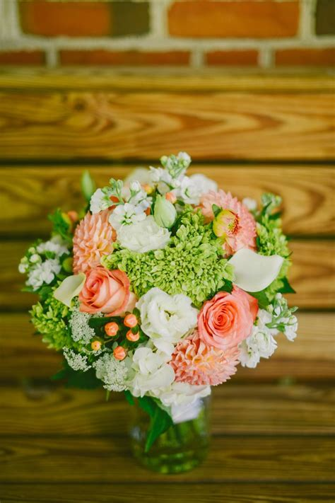 coral bouquet  lime green wedding coral wedding