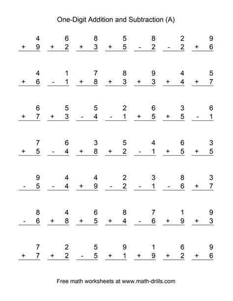math single digit addition and subtraction worksheet adding and subtracting single digit numbers a