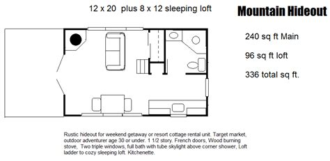 house plans with open floor design 240 sq ft mountain hideout with 96 sq ft loft