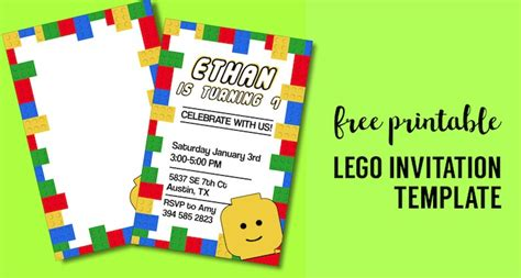 printable lego birthday party invitation template