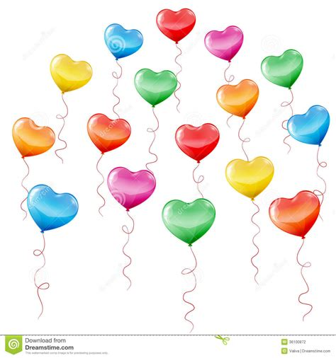 Colorful Heart Shaped Balloons Stock Vector  Image 36100872