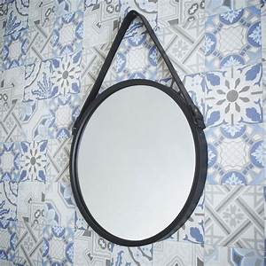 Miroir Barbier, noir, l 39 x H 39 cm Leroy Merlin