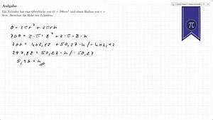 Radius Eines Zylinders Berechnen : h he vom zylinder berechnen youtube ~ Themetempest.com Abrechnung