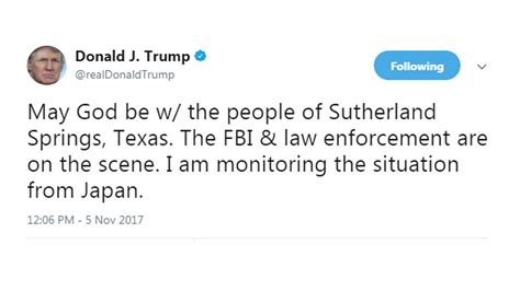 President Donald Trump Tweets About Texas Church Shooting