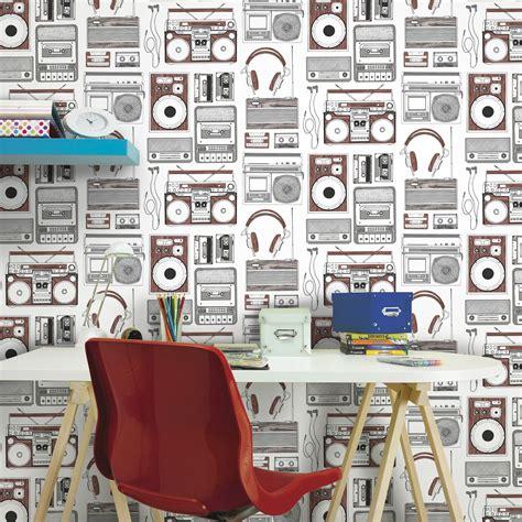brown white retro  wallpaper departments diy  bq