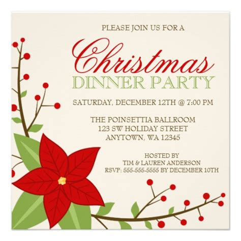 free christmas dinner invitations modern poinsettia christmas holiday dinner party 5 25