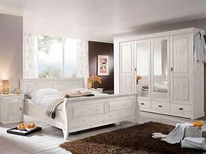 RICHARD II Komplett Schlafzimmer Kiefer Massiv Kiefer Weiss