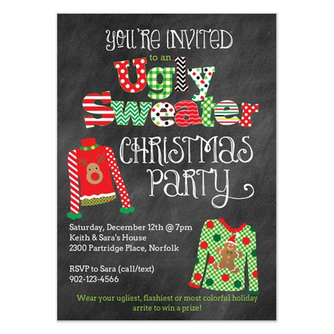 ugly christmas sweater party invitation invitations