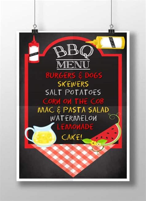 bbq menu templates word excel fomats