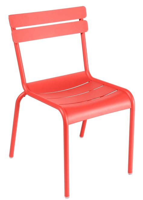 chaise aluminium exterieur luxembourg stacking chair metal nasturtium by fermob