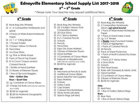 elementary school supply list 2017 2018 school supply lists edneyville elementary