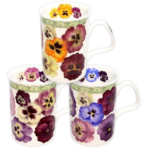 Set of 3 Pansy Fine China Mugs