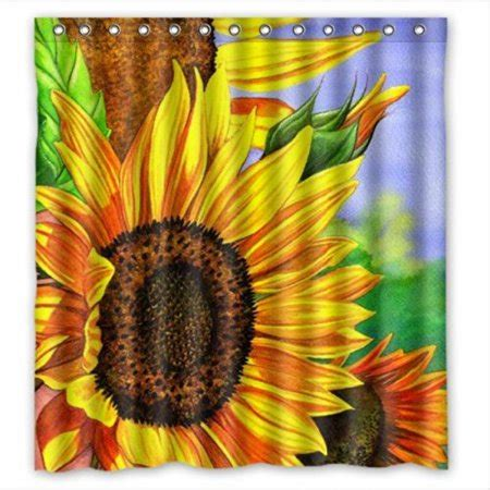 sunflower curtain polyester waterproof bathroom shower personalized fabric