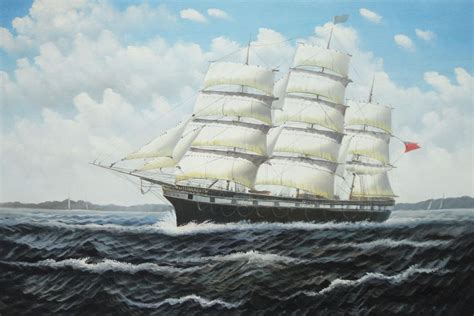vintage sailing ship oil painting boat classic