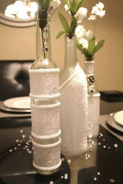 set decorated wine bottle centerpiece white wine