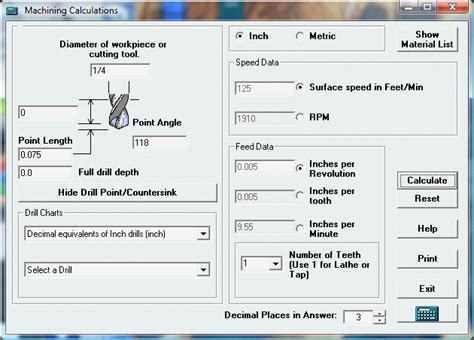 machinists calculator speeds feeds tapping drills
